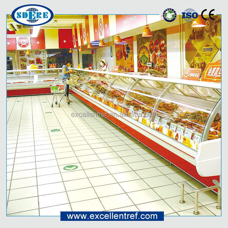 deli/cooked food showcase of table top curve glass type