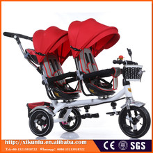 Two seats children tricycle for twins with good quality