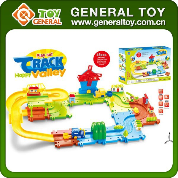 Intelligent Children Plastic Electric Railway Train Building Block Toy