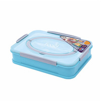 portable handle plastic 3 compartment lunch box with cutlery 1L