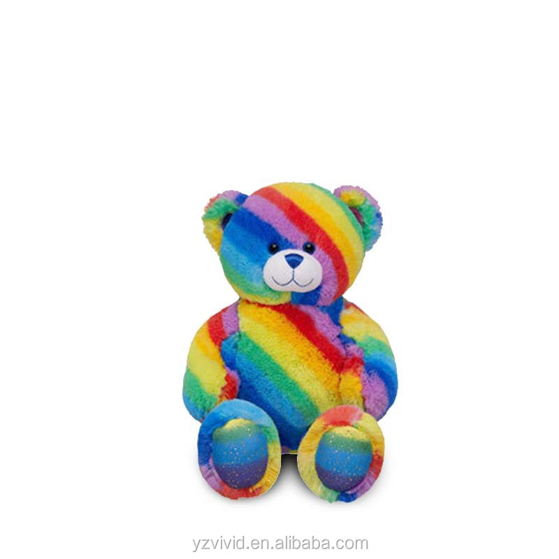 funny rainbow teddy bear plush toy