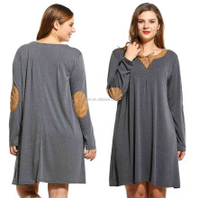 Short Sari Dresses 95% Cotton 5% Spandex Women Casual Plus Sizes Long Sleeve Elbow Patch Loose Short T-Shirt Dress