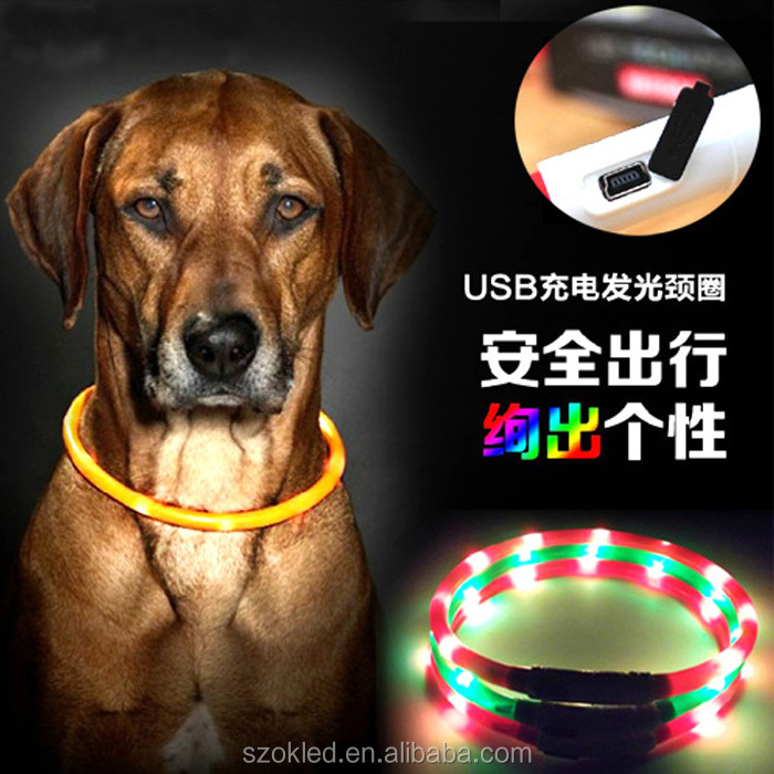 Mascotas Perros Collars For Dogs Led Rechargeable Usb Adjustable Flashing Night Dog Collar Plastic Solid Neck