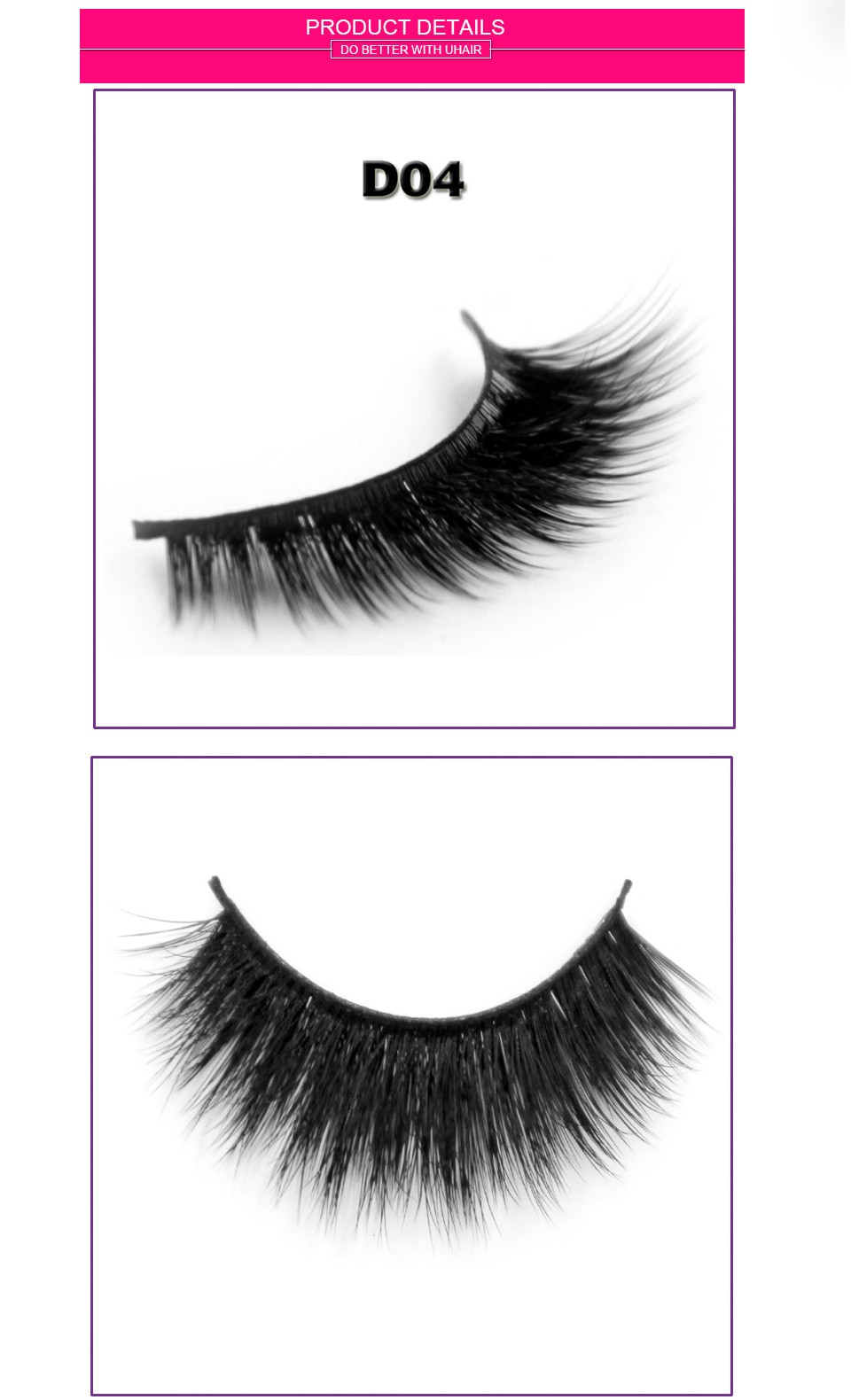 Mink material and hand made type 3d false eyelash custom package