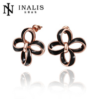 Beautiful flower shaped latest girls rose gold earring models E568