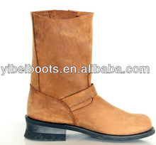 Buckled Light Brown Leather Riding Boots for Men