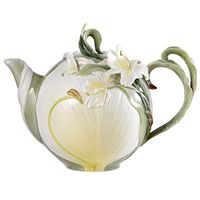 Porcelain ginger lily teapot with hand-painting