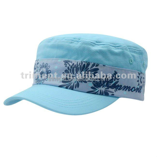 New style fashion military blue flower hats