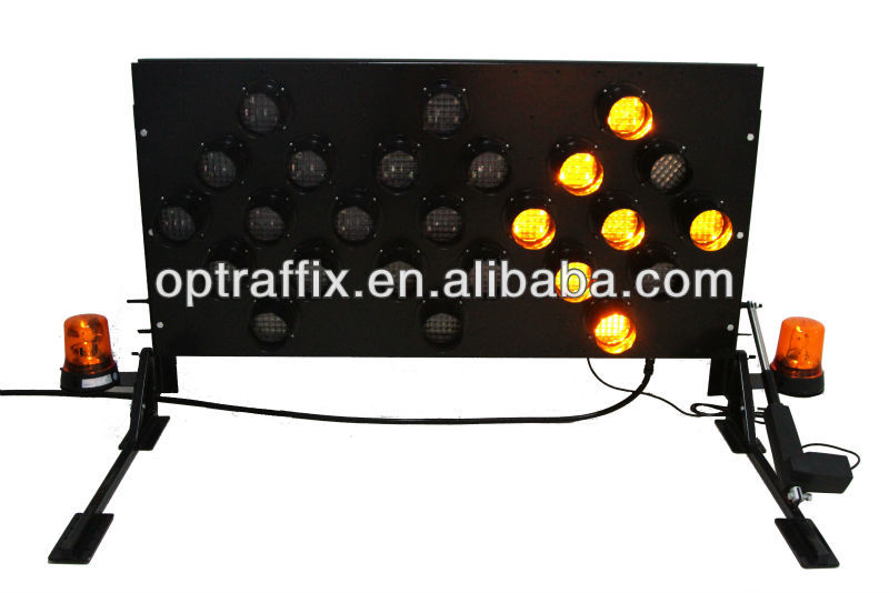 Traffic Signal Led Flashing Arrow Sign Road Safety Solar Power Yellow Light Board