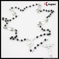 6mm Black Glass Pearl Beads Catholic Rosary with Jesus Crucifix