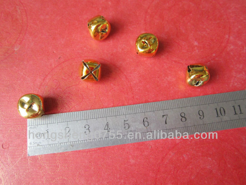 factory supply 12mm gold color metal cross jingle bell wholesale