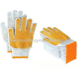 Poly Cotton PVC Dotting Knitted Working Gloves