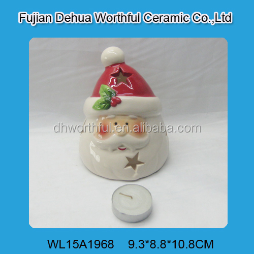 Handmade christmas gifts,ceramic christmas napkin holder with santa claus painting