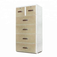 Elegant Leather Multi-layer Storage Plastic Drawer Cabinet with Lock