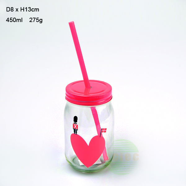 wholesale glass mason jars with straw lid