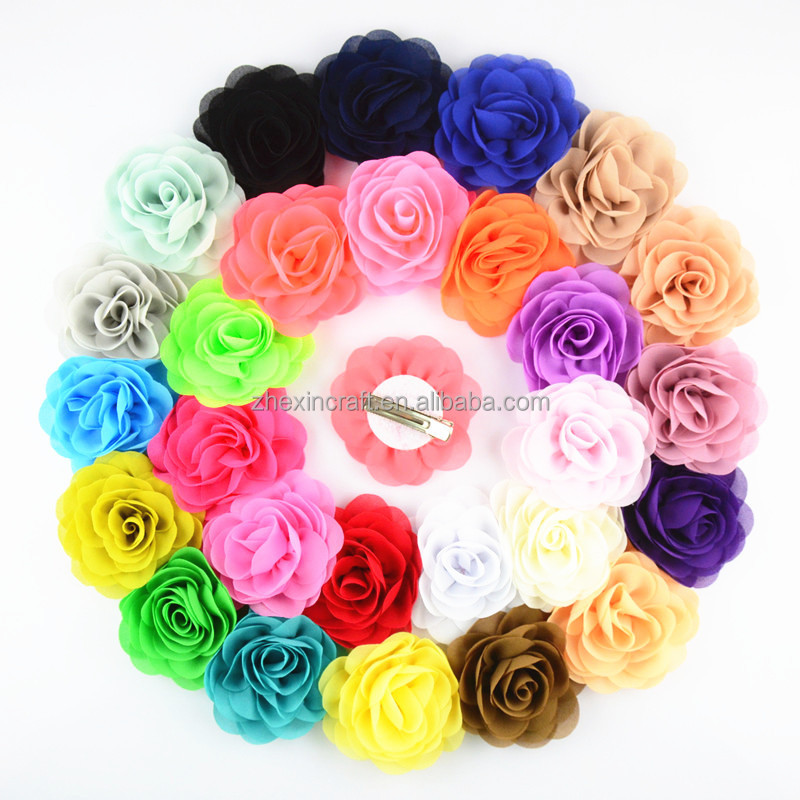 8cm chiffon rose flower with alligator clip for baby hair accessory 24pcs/lot free shipping