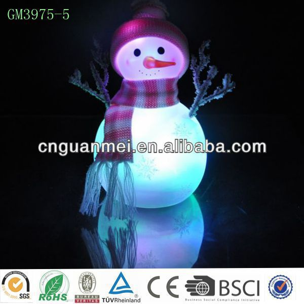 pink scarf and hat snowman with led light/ Christmas snowman