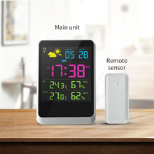 Electronic digital lcd display alarm clock humidity and <strong>temperature</strong>