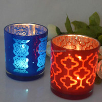 Decorative recycled glass candle jars and lids