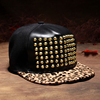 fashion black faux jewels flat bill rivet snapback hat/caps