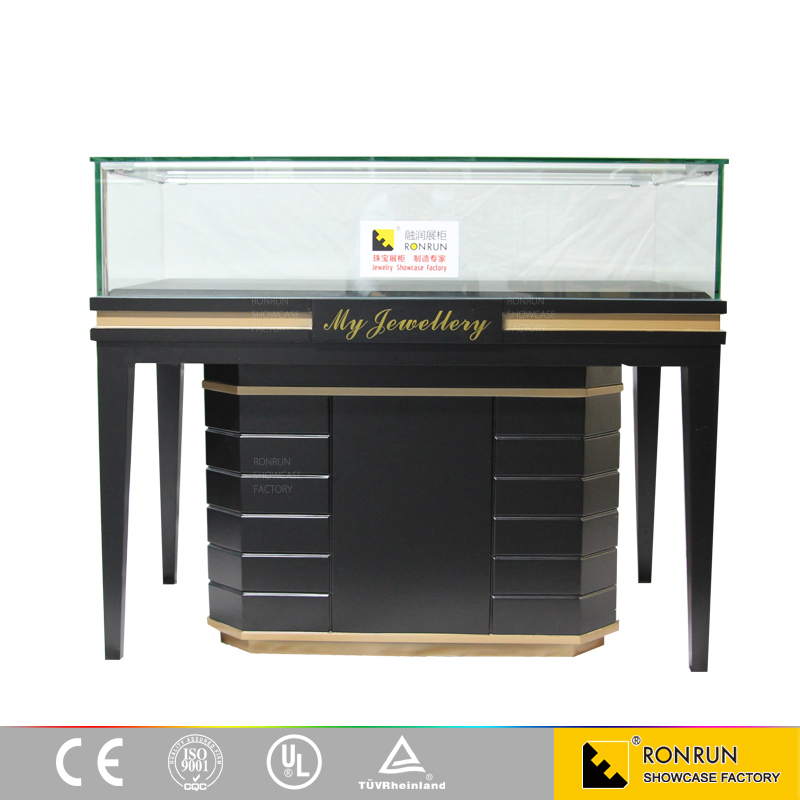 Baking varnish diamond jewelry shop display counter case with storage and LED light