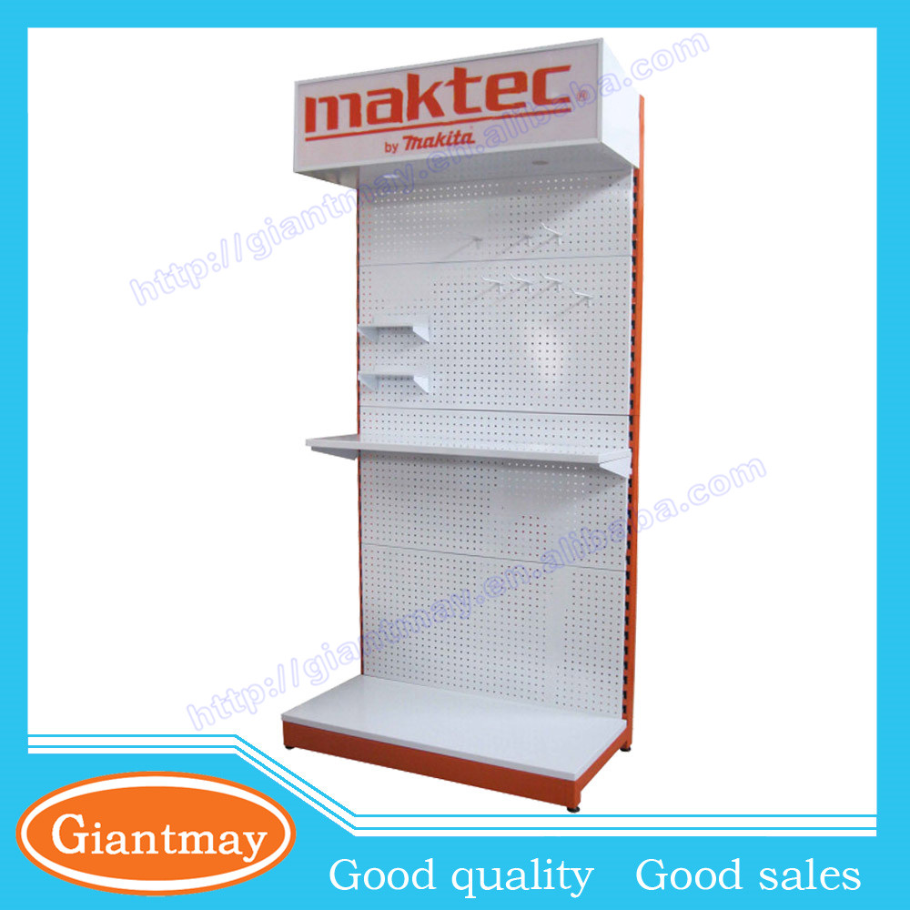 trade show metal pegboard hang hardware product garden power tool display stand rack with light box