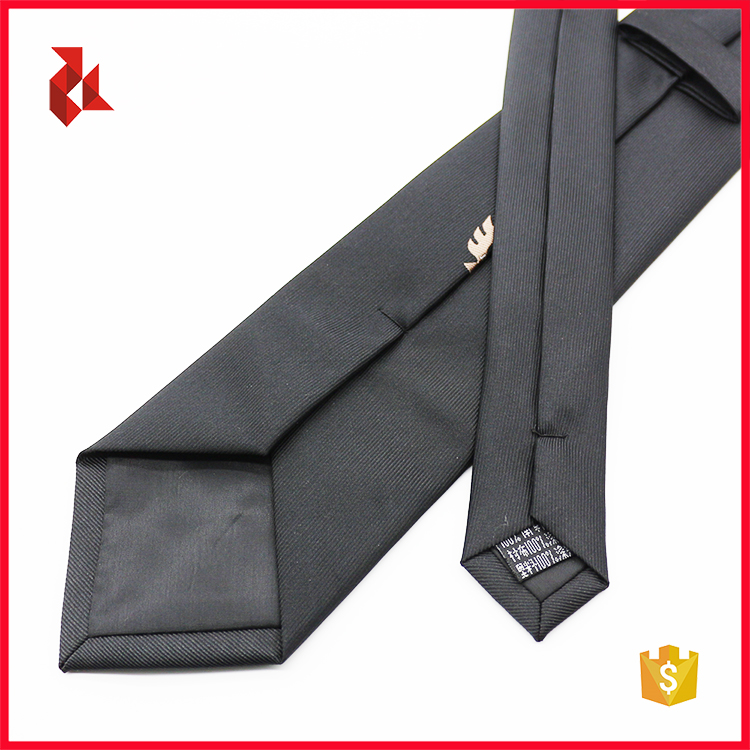 Men's Black Polyester Logo Custom Necktie