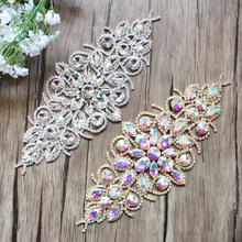 "8.9"" Crystal Rhinestone Applique Bridal Applique for Wedding Gown Trimming Bridal Sash Rhinestone Patch AP12801"
