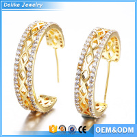 Popular fashion women Jewelry hoop diamond gold earring top design dubai gold jewelry earring
