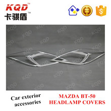 Top brand 2 PCS ABS plastic Chrome Headlamp covers for MAZDA BT-50 2012-ON best selling chrome auto accessoires