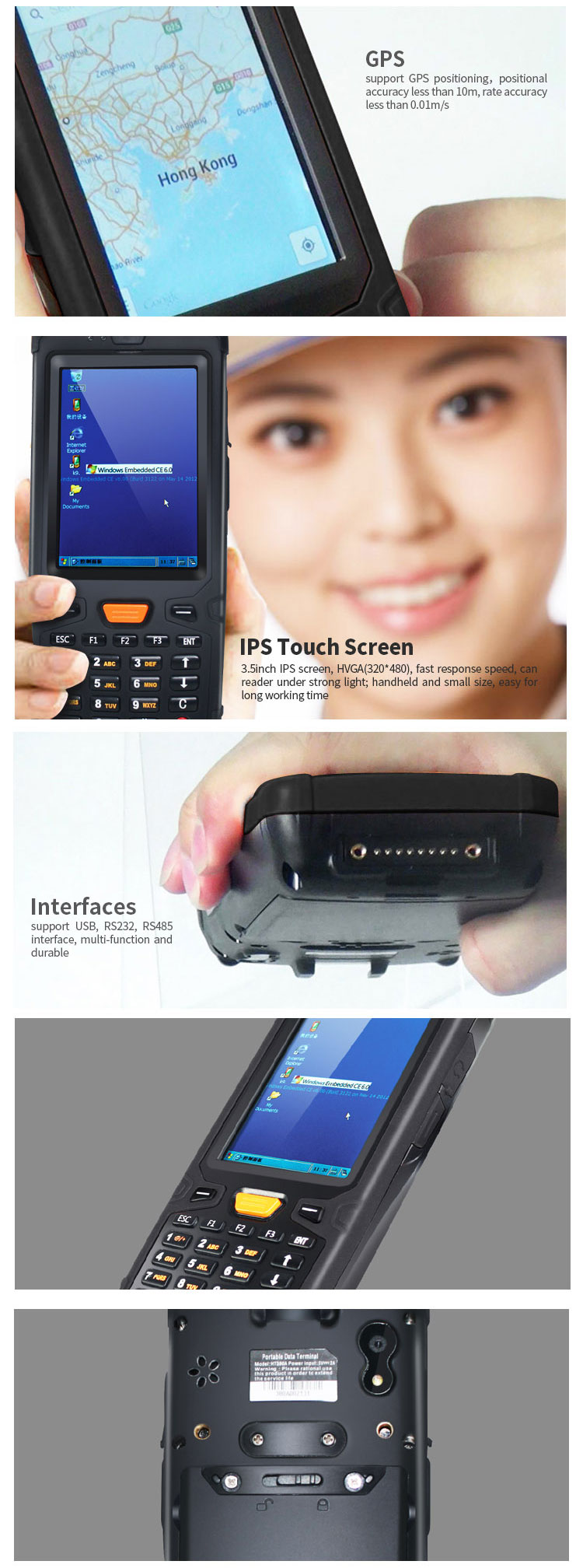 Win CE 6.0 1D barcode scanner industrial portable PDA