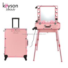 Keyson 2018 aluminum rolling studio makeup artist train case with lights and mirror