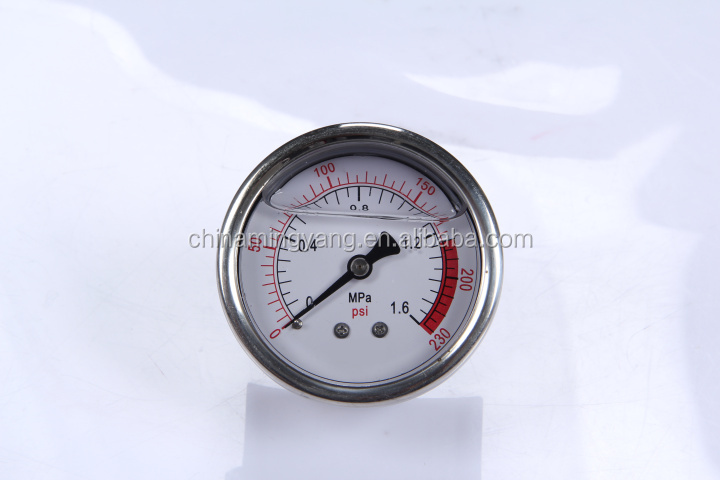 Durable LightWeight Easy To Read Clear Bourdon Sedeme hydraulic pressure test gauges