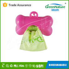 custom logos tie handle biodegradable pet waste bag with dispenser EN13432 / BPI OK compost home ASTM D6400 certificates