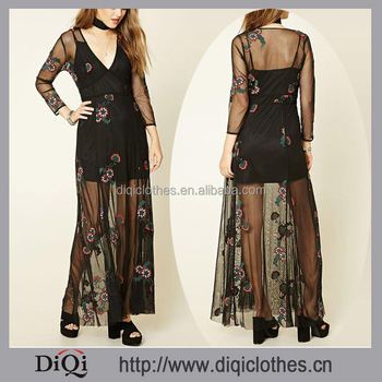 High Fashion Women Clothing 3/4 Sleeves Zippered Embroidered Mesh Maxi Dress