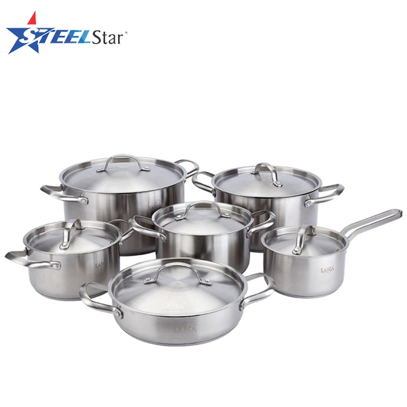 6pcs bakelite handle and bakelite knob stainless steel cookware sets