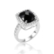 Princess cut black obsidian 925 sterling silver jewelry