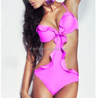 2014 Hot sale pink underwire push up fringe hot pink one -piece brazilian swimsuit