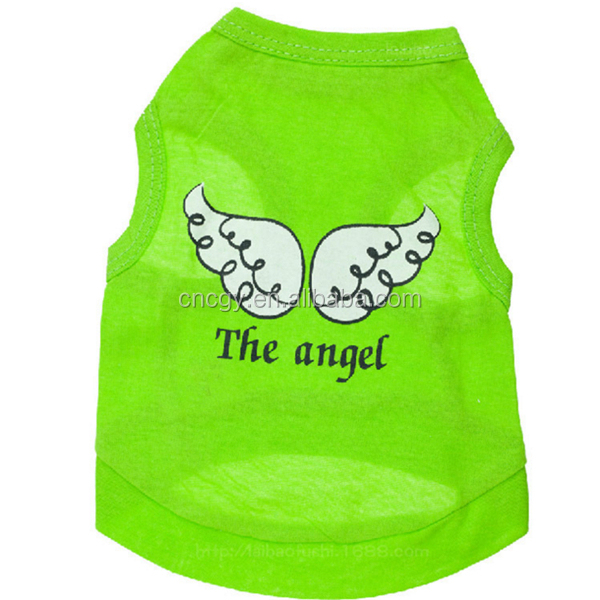 Cotton green angel wings pet vest Teddy clothes