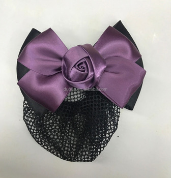 Hair Snood Bun Net Bow Barrette Hair Clip Bun Cover Hairnet Bowknot Decor Bow Lace Rose Flower Hair Accessories