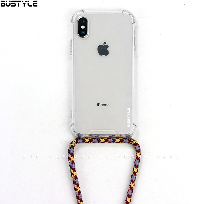 Newest design clear phone accessories cases Protective Anti fall Soft TPU necklace phone case for iPhone X XS MAX