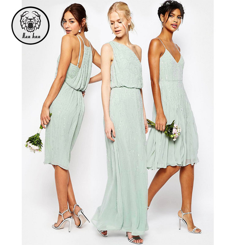 alibaba wholesale slim fit v-neck & off shoulder wedding bridesmaid embellished Cami Midi dresses 2016