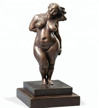 Life size nude woman bronze fat lady sculpture