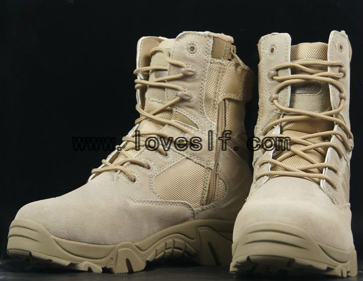 Fashionable tactical leather safety boots military boot black and desert plus size boots