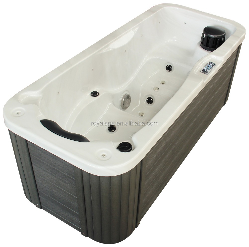 One person relax outdoor whirlpool hot tub spa with color lights