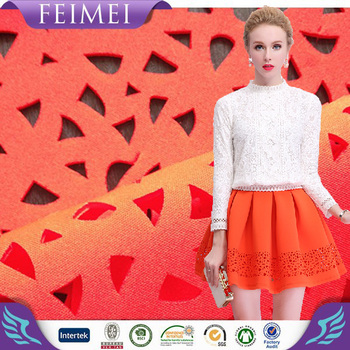 2016 Polyester Spandex Scuba Fabric with Laser Punching Knitted Fabric for Skirt