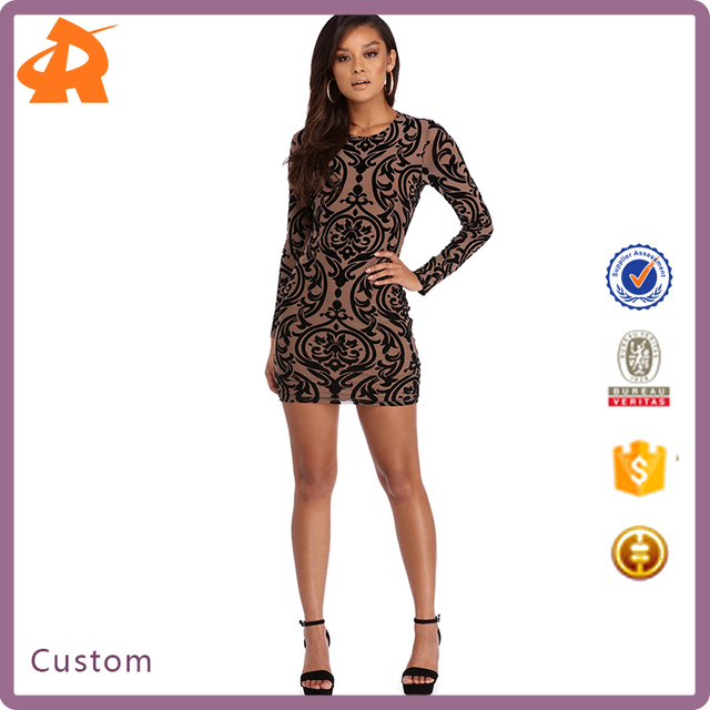 custom made your own long sleeve pattern girls' dress,new design tight short night dress