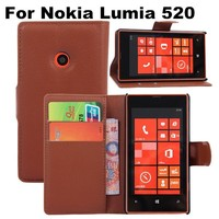 High Quality Promotions Dust-proof Flip Leather Case For Nokia Lumia 520 Stand Wallet Cover With Card Slot