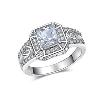 R169 PT900 platinum plated Rings White Gold plated Fashion Jewelry Crystal Stone AAA cz Diamond Wedding Rings