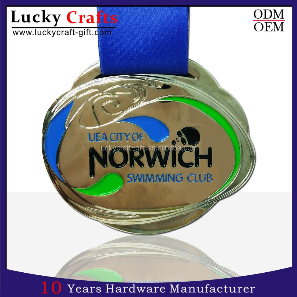 custom 3D swimming sport medal with ribbon no minimum order